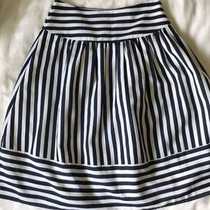 Anthropologie Maeve full navy striped skirt